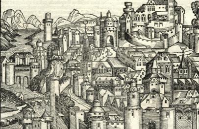 Image illustrant l'article Tolosa, gravure extraite de la Chronique de Nuremberg écrite par Georges Braun en 1493 de Clio Collège