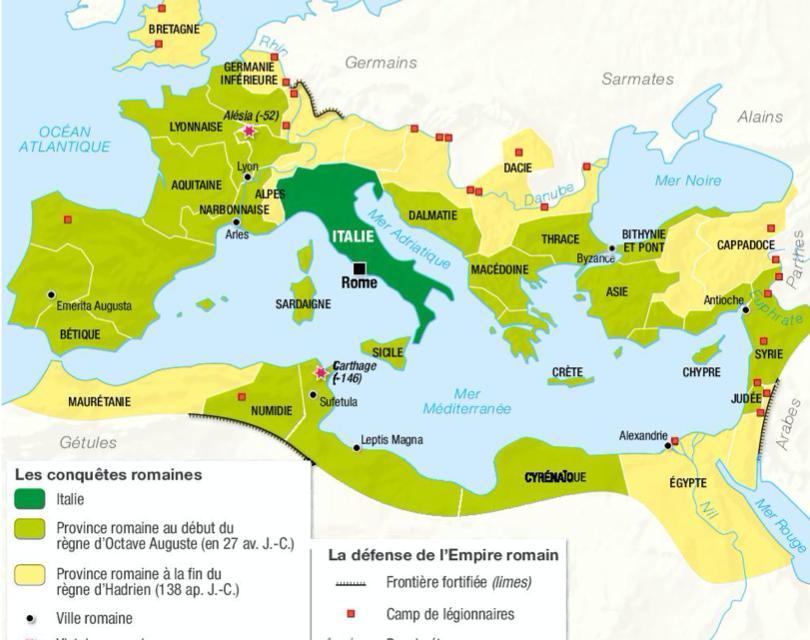Le thème 3 : L'Empire romain dans le monde antique – Séquence 1 : Conquêtes,paix romaine et romanisation.